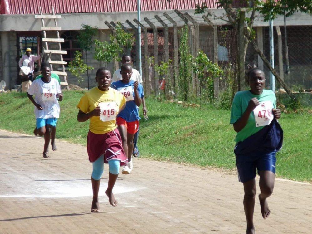 Young Kenyan Runners During Race