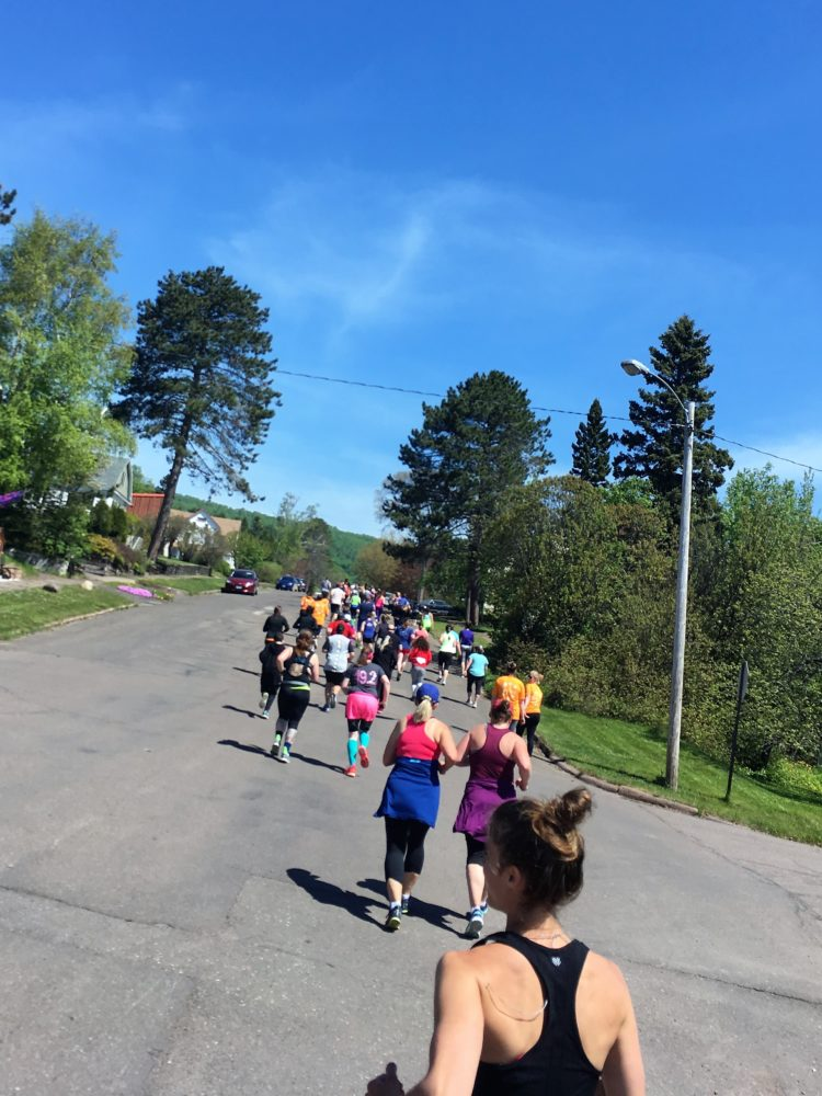 Running uphill in the Voyage North Race Grand Marais